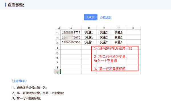 变量短信表格设置要求